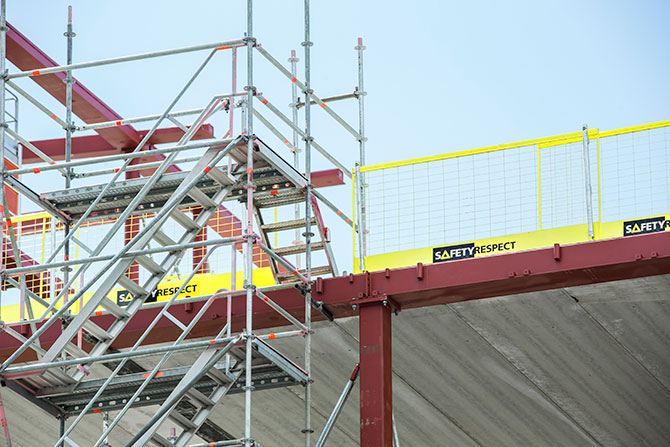 Stair tower edge protection