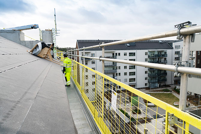 Working platform with fall protection