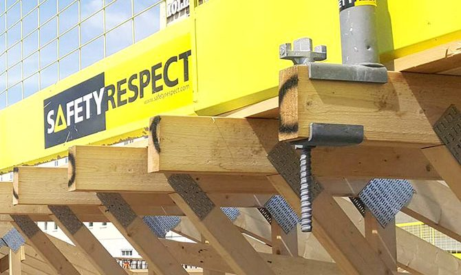 wood beam clamp for edge protection